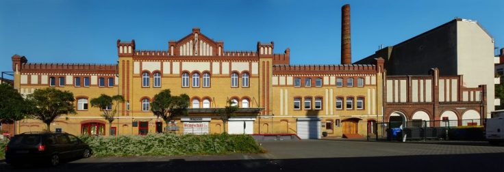 Ansicht eines historischen Brauereigebäudes