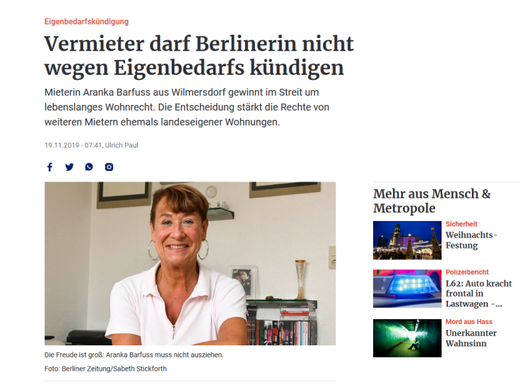 Screenshot des Zeitungsartikels mit Foto der Mieterin.